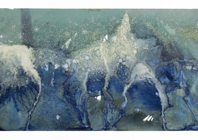 """Littoral Drift Nearshore #502 (Bainbridge Island, WA 04.01.16, Two Waves and Salt, Scattered and Poured); 21x42"""""""