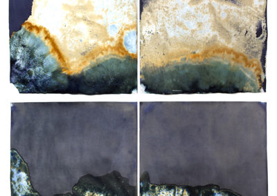 "Littoral Drift #18 (Recto/Verso, Diptych, Rodeo Beach, Sausalito, CA 07.21.13, Three Waves, Buried and Flooded); 30""x50"" (collection)"