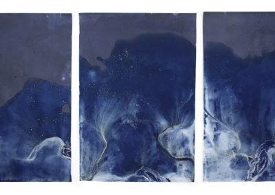 "Littoral Drift #473 (Triptych, Point White Beach, Bainbridge Island, WA 05.17.16, Five Waves at Apex of Low Tide); 36x72"""