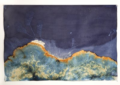 """Littoral Drift #09 (Rodeo Beach, CA 11.07.13, Three Waves, Buried and Flooded); unique cyanotype, 24"""" x 30""""  (MG_0465)"""
