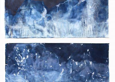 "Littoral Drift #417 (South Beach, Lake Michigan, Sheboygan, WI 01.06.16, Five Overwash Waves, Draped Over Suncups and Corn Snow); 42""x96"""