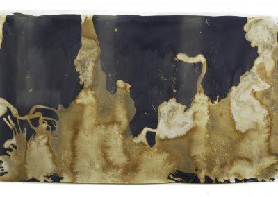 "Littoral Drift #50 (Mono Lake, Mono County, CA 07.05.14, Four Waves, Poured); 42""x108"" (private collection)"