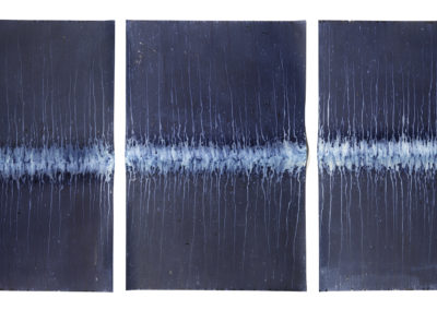 Ecotone #6 (Triptych, Bainbridge Island, WA 07.07.17, Scattered Sunshowers, Draped on Pole);  36x74x2.5""
